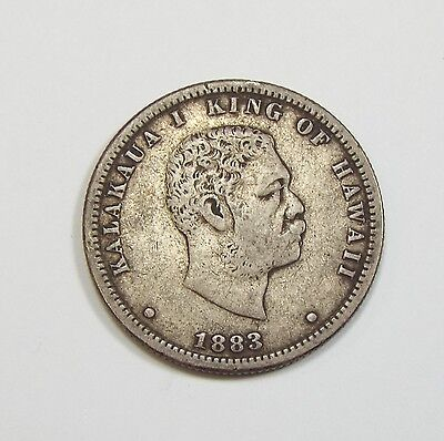 1883 KINGDOM OF HAWAII King KaIakaua Silver Quarter VERY FINE 25c