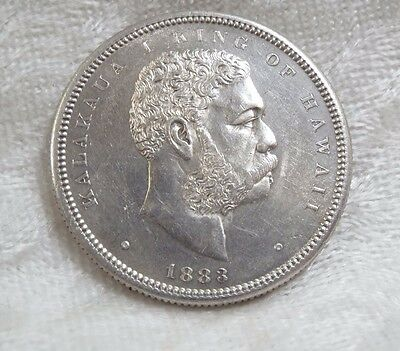 1883 KINGDOM OF HAWAII King KaIakaua Silver Half Dollar ALMOST UNCIRCULATED 50c