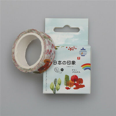 15mm*7M tree&flowers Washi Sticker Paper Masking Adhesive Tape Crafts Decor FG