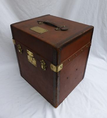 Vintage Leather French Hat Box Cube Trunk