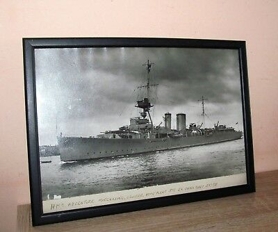 Framed 1939 Photograph of the Ship. HMS Adventure Mine laying Cruiser. 12 x9 ins
