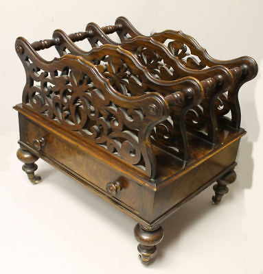 Antique Rosewood Magazine Holder Victorian Canterbury