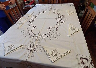 Rare Antique Nude Angels  Embroidered Cutwork Tablecloth & 8 Napkins