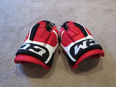"Used CCM CL Pro Stock New Jersey Devils 14"" Hockey Gloves!  Bauer MX3 NXG"