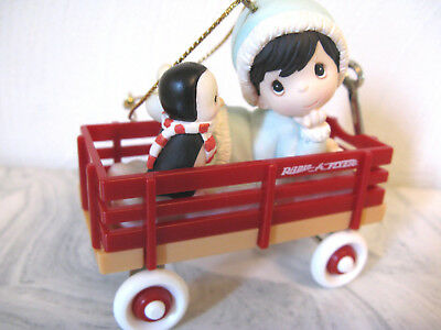 Enesco Precious Moments Child & Penguin in Wagon Christmas Ornament No Box
