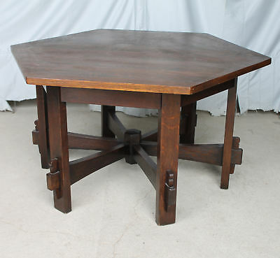 Anatique Mission Oak Hexagonal Library Table L & JG Stickley Arts & Crafts