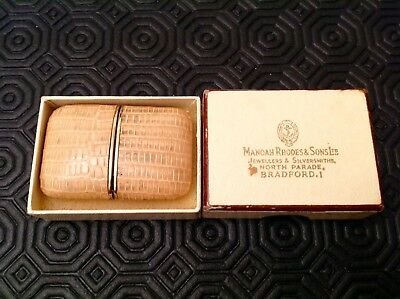 Small Vintage Antique Mappin Travel Clock + Box Ray Leather 17 Jewel Incabloc