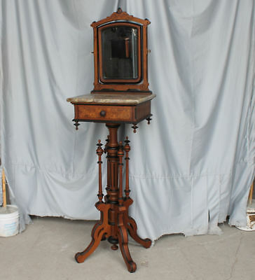 Victorian marble top Walnut Antique Shaving Stand