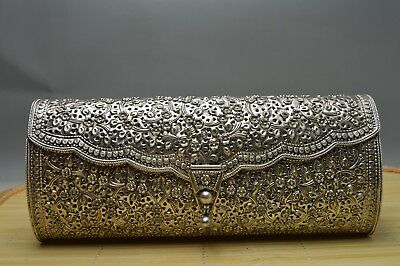 Antique 319g Old S925 Sterling Solid Silver Hand Made Flower Women Wallet Signed
