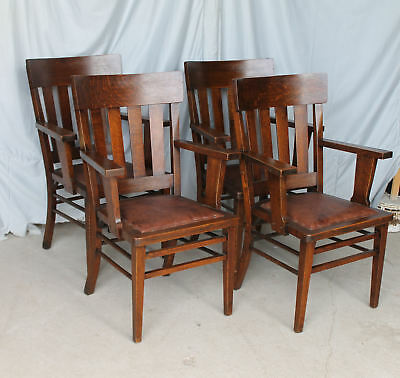Antique Arts and Crafts Mission Oak Arm Chairs Matching Set of 4