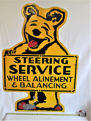"Vintage Bear Steering Service Wheel Alinement Advertising Metal Sign 40"" X 28"""