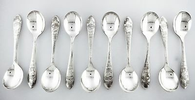 Set Of 5 Vintage 1930s Branford Silver Plate Mickey Mouse Pie Eyed Spoons