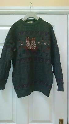 Mens Concept Knitwear Pure New Wool Jumper Retro Vintage Size Large