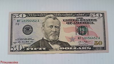 Series 2013 Federal Reserve Note Us $50 Fifty Dollar Bill Unc-Mf18056452A