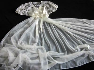 """Vintage Sheer Chiffon Robe 120"""" Sweep Lacy Satin Bodice Ivory S/M NEW Val Mode"""