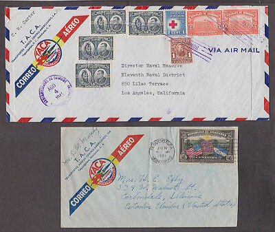 Honduras - 1938 and 1941 Two Taca air mail covers mailed to USA