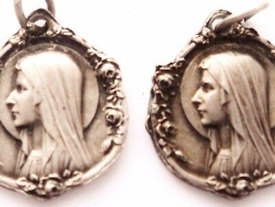 Beautiful Pair Of Art Nouveau Medal Pendants To Holy Virgin Mary Of Lourdes