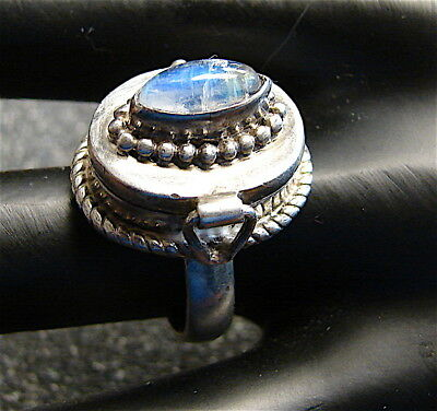 VINTAGE .925 Silver Secret Compartment Ring--With----Pale Bluish Stone
