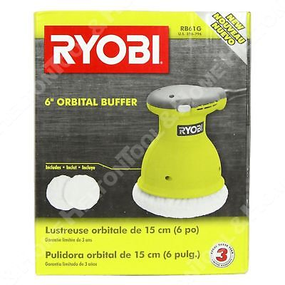 "Ryobi RB61G 6"" Green Electric Cord Orbital Buffer Polisher New for Car Truck"