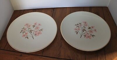 Edwin Knowles PINK DOGWOOD (GOLD TRIM) Dinner Plate 295985 Set of 2