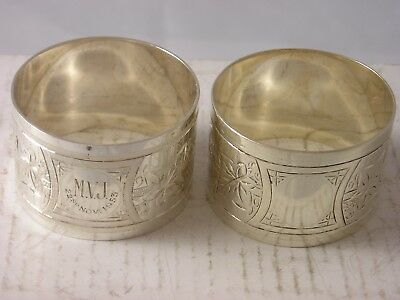 VERY PRETTY Pair 1888 Edward Hutton Silver Napkin Rings 57 grams Victorian