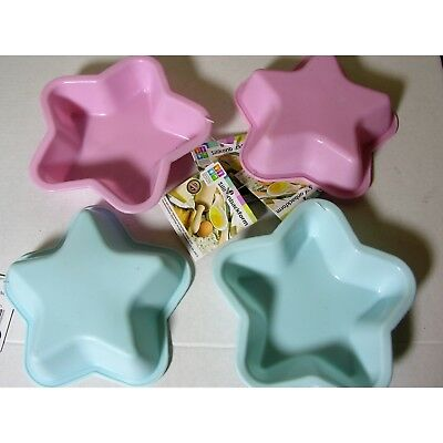 Set of 4 Silicone Baking Pan Star Pink Blue 13cm Cake Pan CupCake Shape Muffin