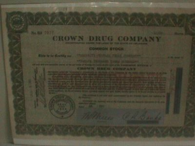 CROWN Drug STOCK Certificate Company 1966 12300 SHARES