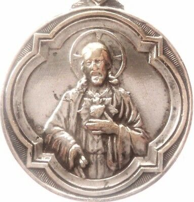 Our Lady Of Carmel & The Sacred Heart Of Jesus - Beautiful Antique Medal Pendant