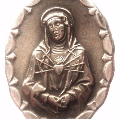 Holy Mother Of Sorrows And The Crucifixion Of Holy Jesus - Vintage Medal Pendant