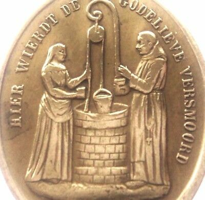 Miraculous Water Well & Martyr Saint Godelina - Antique Medal Pendant