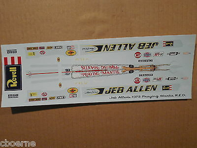 1/16 Scale Jeb Allen's 1973 Rear Engine Dragster Decal/revell/mpc/amt/johan
