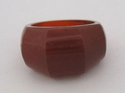Vintage Faceted Carnelian Stone Ring Size 5