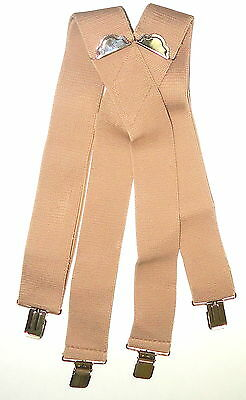 """2"""" Mens Plain Beige (no Patch) 48"""" Suspenders. Made in USA. Elastic, SF"""