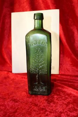 Rare Dark Green Pine Tree Tar Cordial Glass Bottle Philadelphia 1859