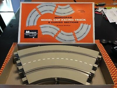 "1/24 Monogram #SR3021 14"" CURVED SLOT CAR TRACK SECTIONS (6) ORIG BOX VINTAGE"