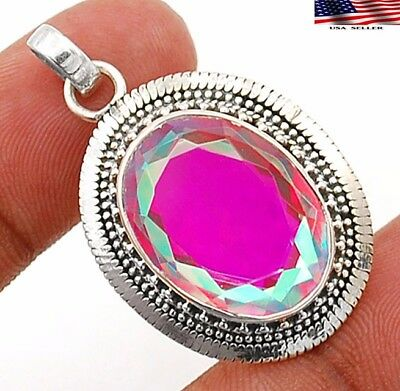 12CT Color Changing Rainbow Topaz 925 Sterling Silver Pendant Jewelry