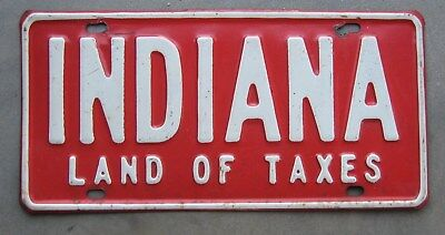"""Vintage 1960's Indiana """"Land Of Taxes"""" License Plate Topper (Booster)"""