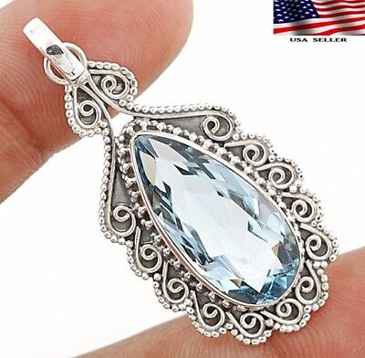 """12CT Aquamarine 925 Sterling Silver Detailed Design Pendant Jewelry 1 7/8"""" Long"""