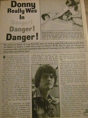 Donny Osmond, Full Page Vintage Clipping, Osmonds Brothers