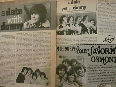 Donny Osmond, Two Page Vintage Clipping, Osmonds Brothers, 27