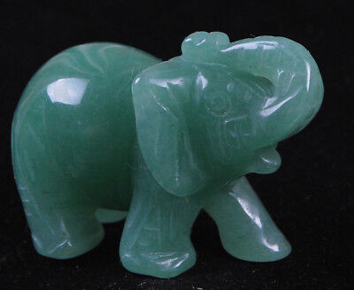 Natural Green Aventurine CRYSTAL Gemstone Hand Carved Elephant Figurine