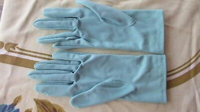 Vintage Blue Gloves with  Bow detail on wrist