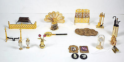 Miniature Dollhouse Lot - Fireplace Grate Mantle Accessories Pictures Clock