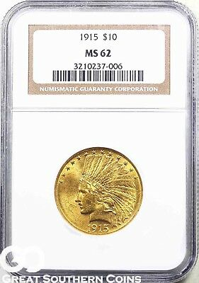 1915 NGC Eagle, $10 Gold Indian, NGC MS 62 ** Gorgeous! ** Free Shipping!