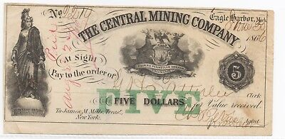 Very Nice Circulated Central Mining Company 1866 $5 Note(Michigan)