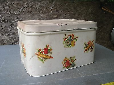 Vintage 1950s Metal Empeco Bread Tin with Attached Lid, Shows Lots of Use