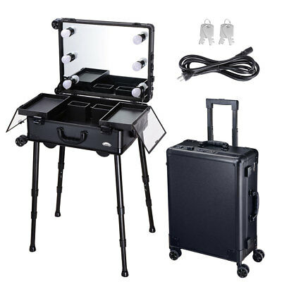 AW® Studio Salon Makeup Train Case Cosmetic Rolling Oragnizer Table LED Light