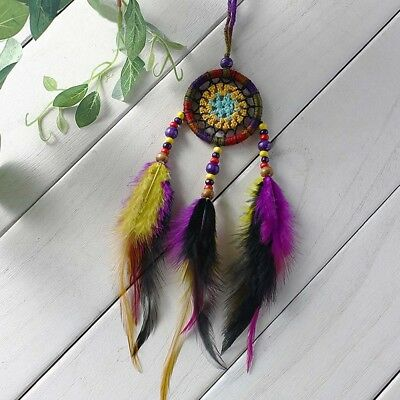Dream Catcher Handmade Feathers Wall Car Hanging Decor Colorful Beads Ornament
