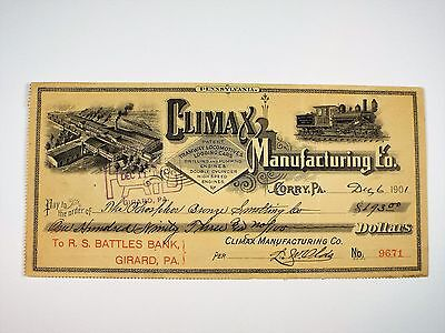 1901 Climax Manufacturing Co Corry Pa Bank Check Tramway Locomotive R.S. Battles
