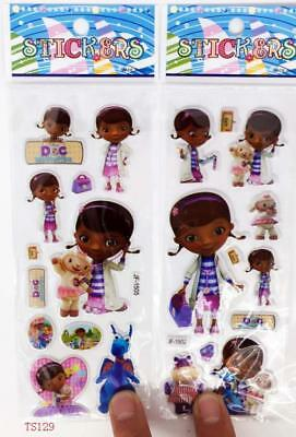 2 sheets 3D cartoon Female doctor funny Stickers Children's Party Gifts 21x7.5cm